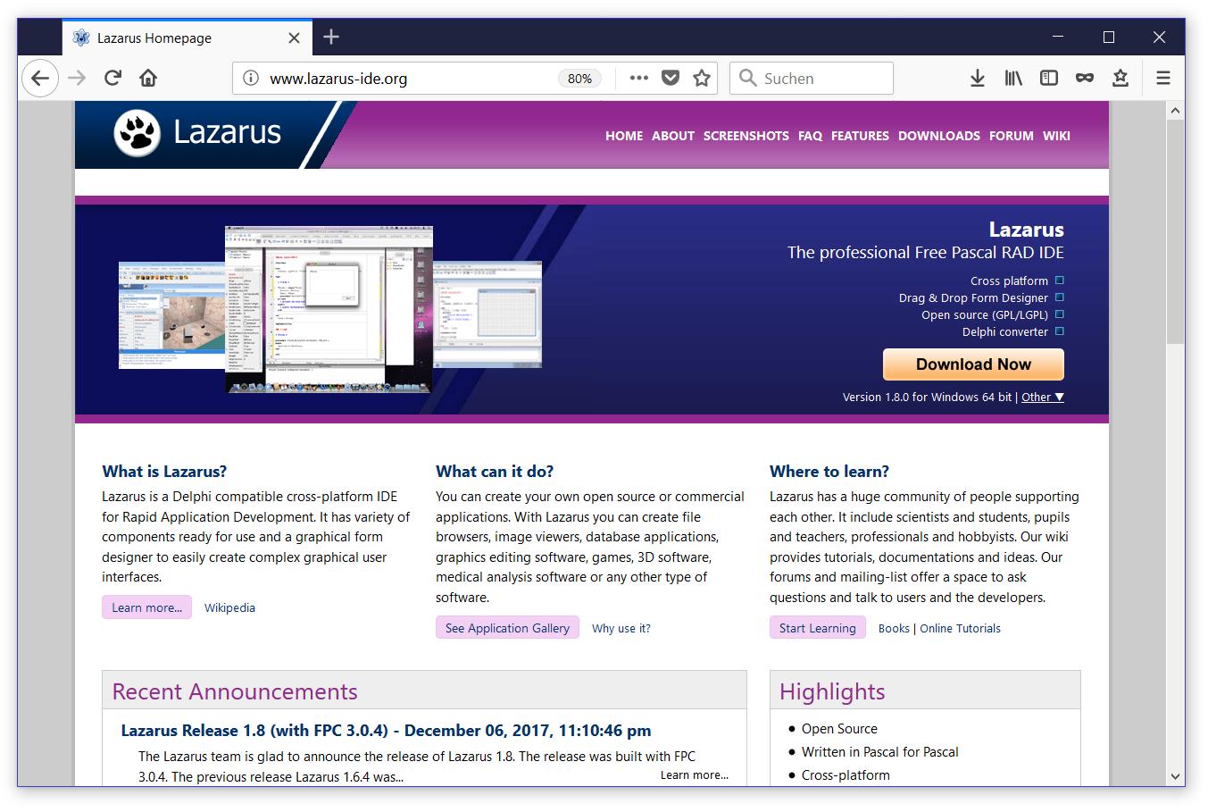 Homepage von Lazarus: