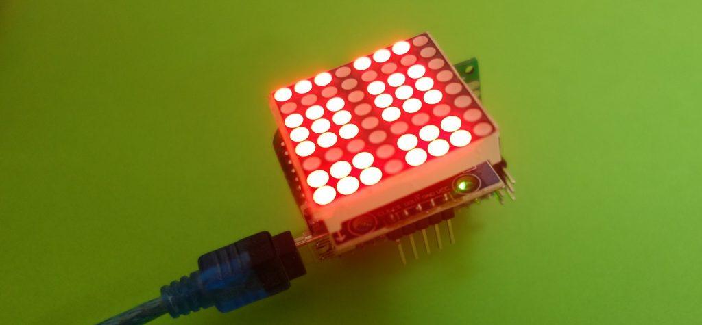 Typisches Bild für eine falsch montiere 8x8 LED Matrix