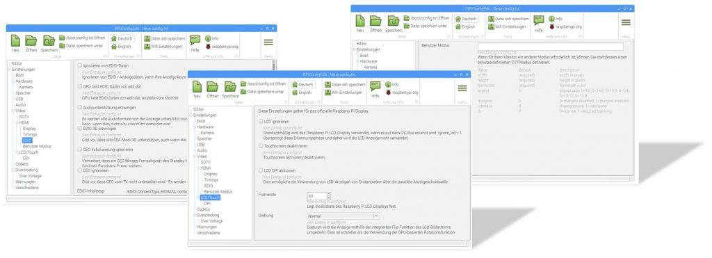Einstellungen für HDMI-EDID und Benutzerwerte (CVT) des Raspberry Editors